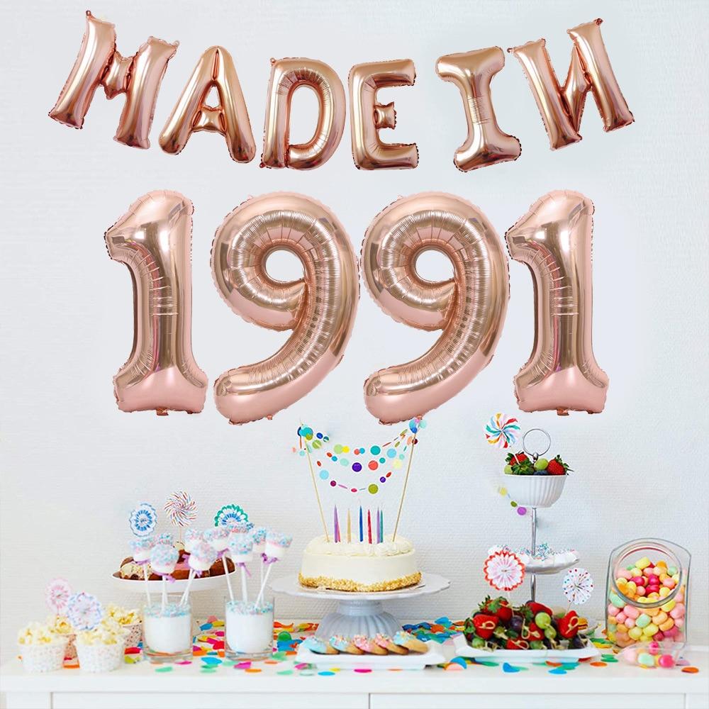 Balão de aniversário conjunto 18 30 40 50 anos de idade conjunto festa de aniversário decoração arranjo filme de alumínio balão conjunto