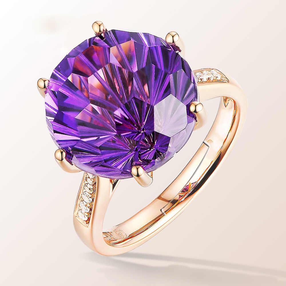 Natural ametista anéis de pedra preciosa para as mulheres rosa ouro 925 prata cor diamante anel roxo pedra preciosa fina jóias dedo anel