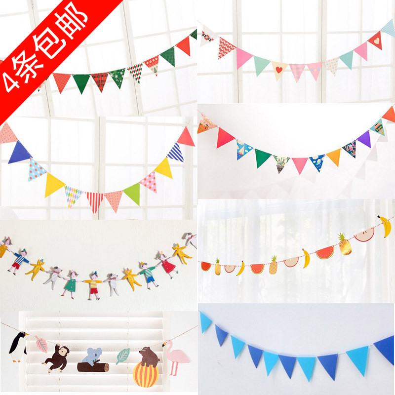 Kids Teepe Tent Accessary Dress Up Small Colorful Flag Party Decoration Props  Photography  Hanging Kindergarten Flower