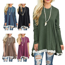 Womens Autumn Clothing Pregnant  Maternity Dress Loose Cotton Pregnancy Lace Stitching S-XXL Women