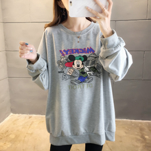 цены Women Autumn Thin Pullover Sweatshirt Casual Loose Plus Size Hoodies Long Sleeve Drop-shoulder Harajuku Cartoon Mickey Sport Top