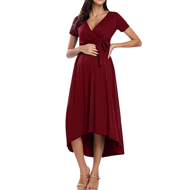 Breastfeeding Maternity Dresses Maternity Pregnant Short Sleeve Solid A Line Dress Casual Maternity Clothes Dress for Pregnant in Dresses from Mother Kids