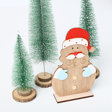 Christmas Wooden Cartoon DIY Crafts Tabletop Decoration Santa Claus Innovative Ornaments Decorations for Home New Year