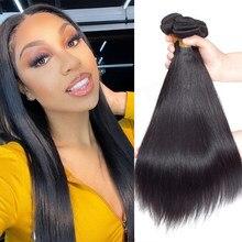 Pacotes de cabelo em linha reta feixes tecer cabelo brasileiro feixes de cabelo humano 3/4 pacotes remy extensões do cabelo cor preta natural