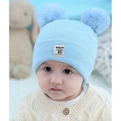 Милая зимняя теплая детская шапка для новорожденных унисекс шапочки с ушками для младенцев хлопковые шапки для мальчиков и девочек детская...
