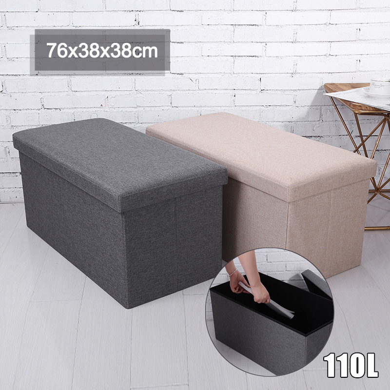 110L Portable Storage Box Chair Multifunctional Foldable Storage Stool Clothing Organizer Storage Bench Home Storage Box Chair