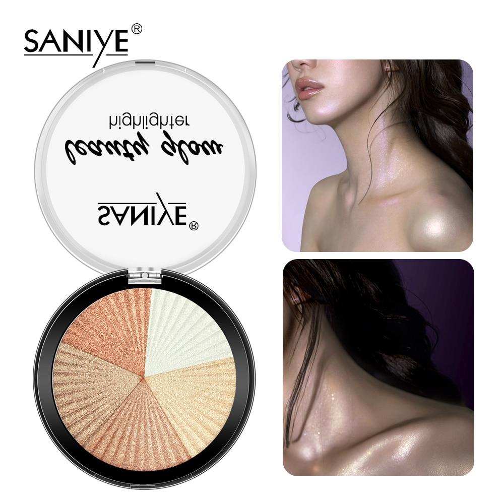SANIYE Highlighter Powder Makeup Bronzer Palette  Face Contour Shimmer Powder Body Base Highlight Cosmetics 5 Color E0134