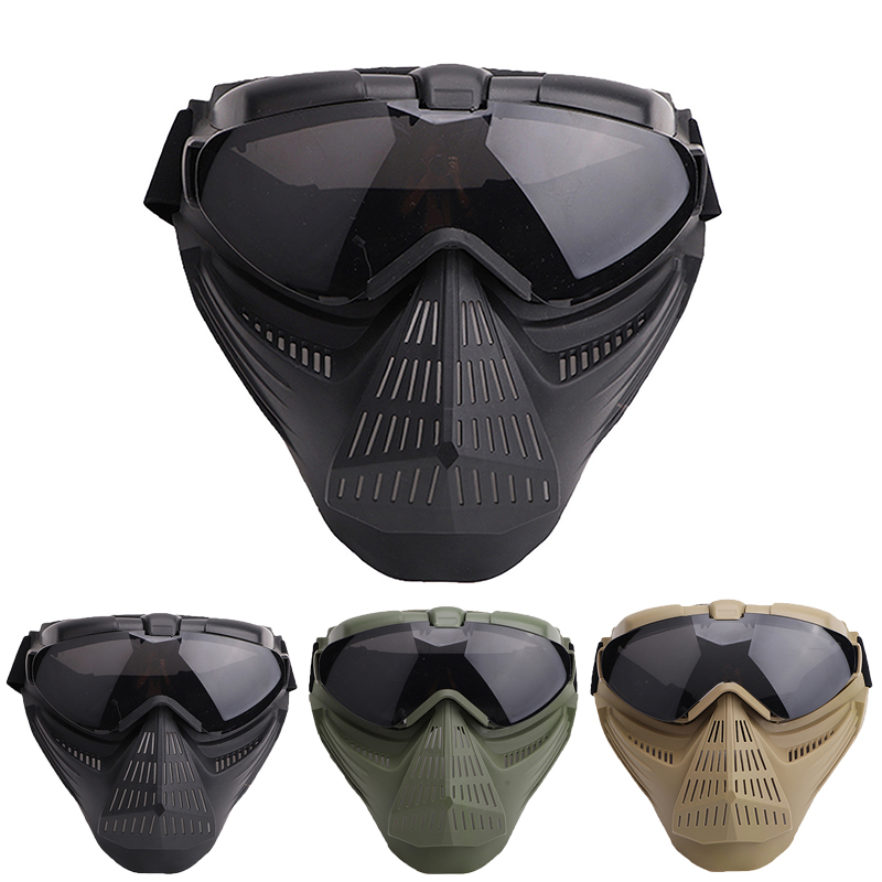 Airsoft Full Face Mask Tactical Breathable Mask Riding Protection Masks Safety Goggles Mask For Outdoor Sport Riding Accessories