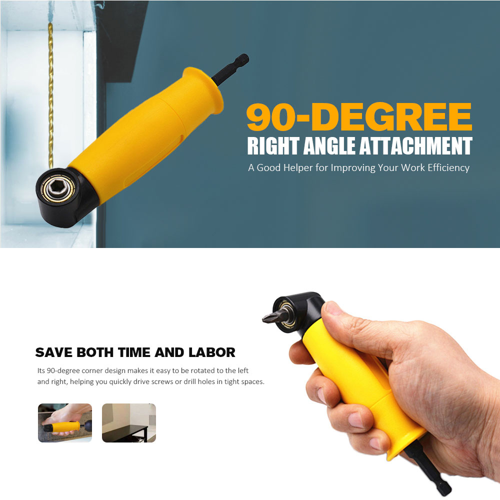 Electric Drill 90 Degree Right Angle Drill Attachment Adapter Cordless Chuck Narrow Space Maintenance Helper