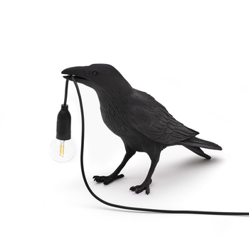 Bird Table Lamp Italian Seletti Bird Lamp Modern Resin Crow Desk Lamp for Living Room Bedroom Light Wall Sconce Home Art Decor