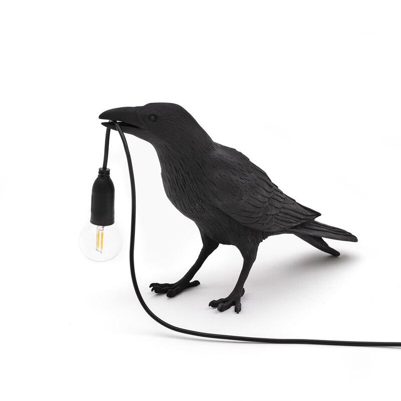 Pássaro lâmpada de mesa italiano seletti pássaro lâmpada moderna resina corvo lâmpada para sala estar quarto arandela luz da parede decoração da arte casa Luminárias de parede    -
