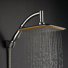 """Насадка для душа с дождевой насадкой, Ручная фиксация """", набор для душа с высокой водой, большой ручной шланг, хромированный держатель головок для экономии давления"""