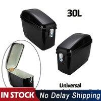 1 Pair Universal 30L Black Motorcycle Side Box Pannier Luggage Tank Hard Case Saddle Bag Cruiser For Harley For Honda