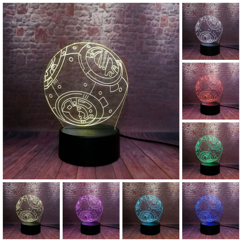 Cool 3D Illusion LED Nightlight 7 Colors Changing Light Star Wars BB-8 Droid Robot action & toy figures 3