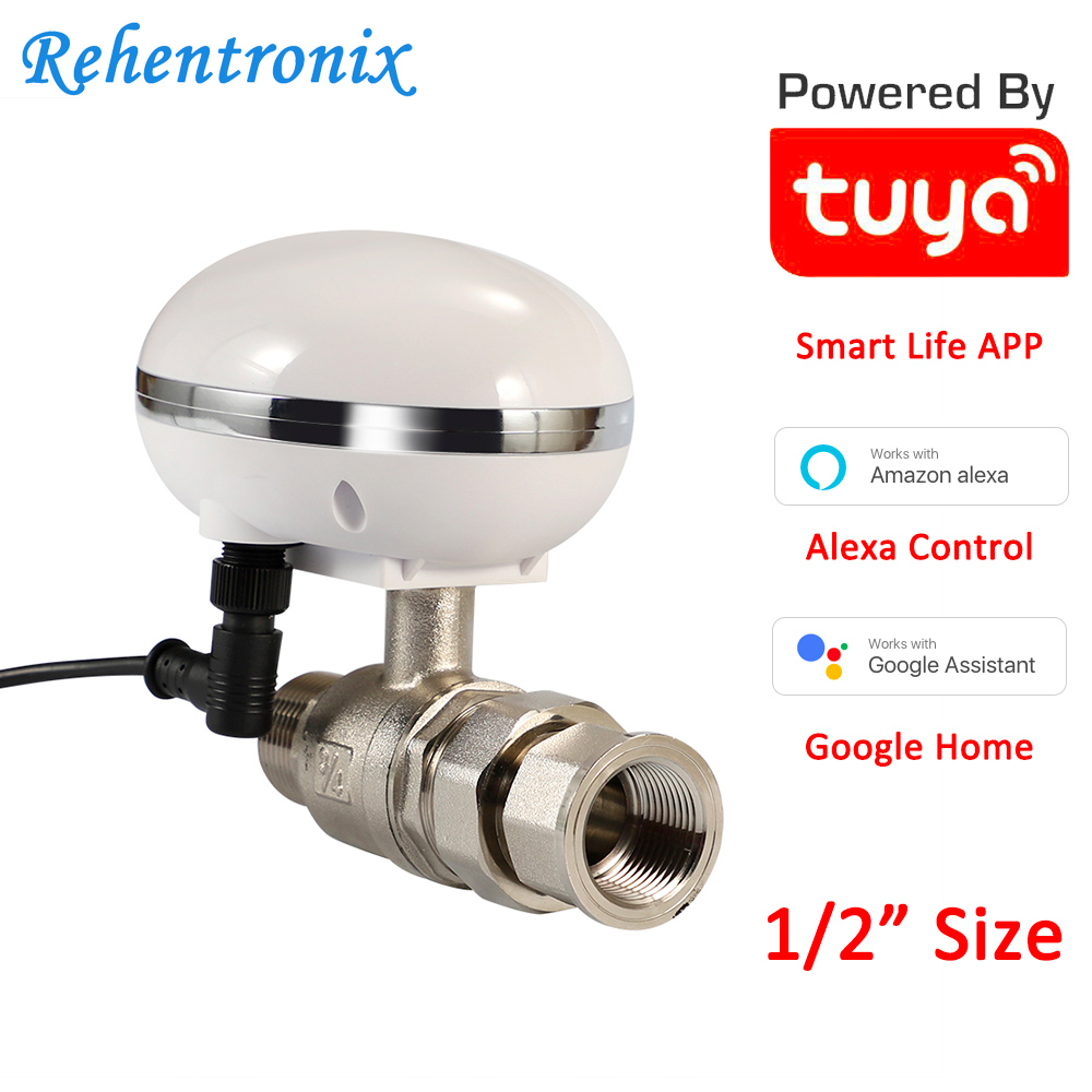 Tuya Amazon Alexa Google Assistant Smart WiFi Control Gas Water Valve Smart Life WiFi Shut-Off Controller 1/2 Inch Pipe Size