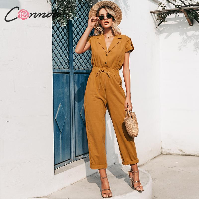 Conmoto Soldi Summer Beach Women Jumpsuits Romper Casual Button Lace Up Wide Leg  Jumpsuit Long Pocket Playsuit Rompers