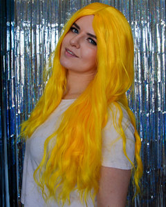 Image 5 - COSYCODE Black Blue Blonde Synthetic Wig Wavy Middle Part Long Hair Natural Wave None Lace Halloween Cosplay Wig Heat Resistant