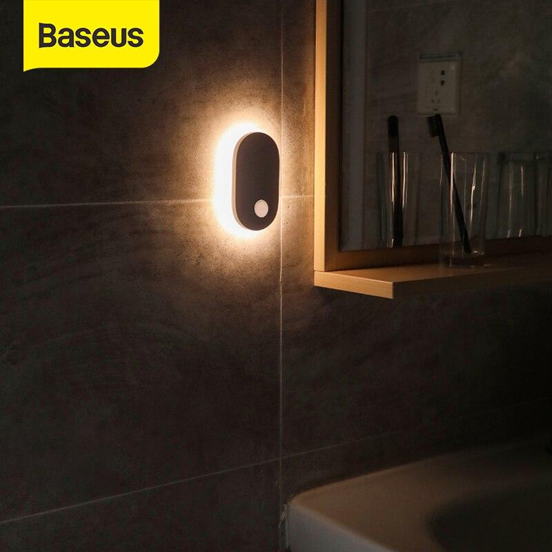 Baseus veilleuse PIR capteur de mouvement lumière toilette lumière humaine Induction magnétique lumière LED Rechargeable lampe de chevet pour la maison
