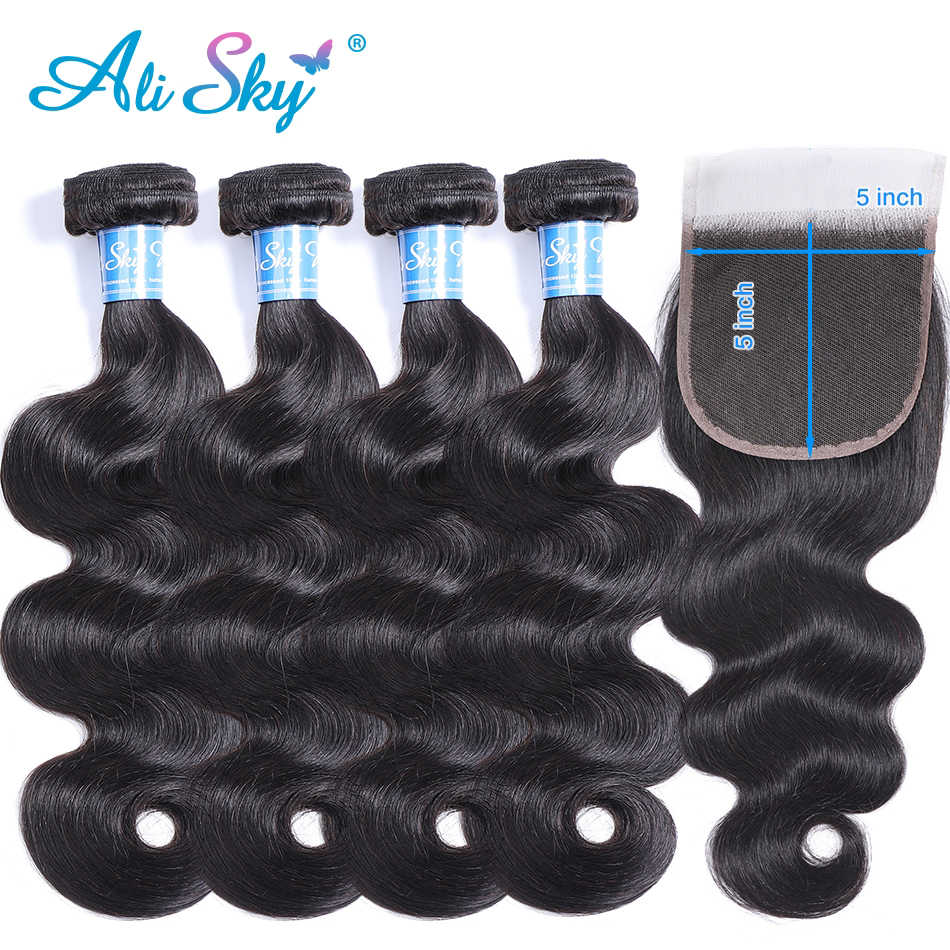Alisky Hair Body Wave Human Hair 4 Bundles With 5x5 Closure Brazilian Hair Weave Bundles Natural Color Remy Hair Extension