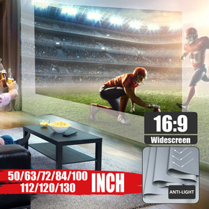 16:9 Portable Foldable Anti-light Projector Screen 3D Home Cinema HD 1080P Projection Screen 50/60/63/72/84/100/112/120/130 Inch