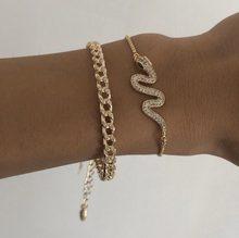 Punk indiano chunky chain cobra pulseira conjunto para as mulheres ouro cor serpente cristal multicamadas charme pulseiras boho jóias