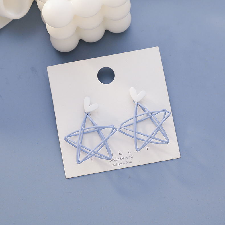 Summer Fresh Love Hollow out Five-pointed Star Blue Earrings 2020 New Style Fashion Simple Versatile Ear Stud Earrings Female