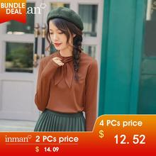 INMAN Spring New Arrival Solid Color Rabbit ears Tie Neck Knit Basic Minimalist Women Long Sleeve T-Shirt