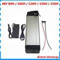 500 Вт 48В батарея для электровелосипеда 48В 8ач 10ач 12Ач 13ач 15ач Серебряная рыба литий-ионная батарея с BMS 2A зарядным устройством нижний разряд