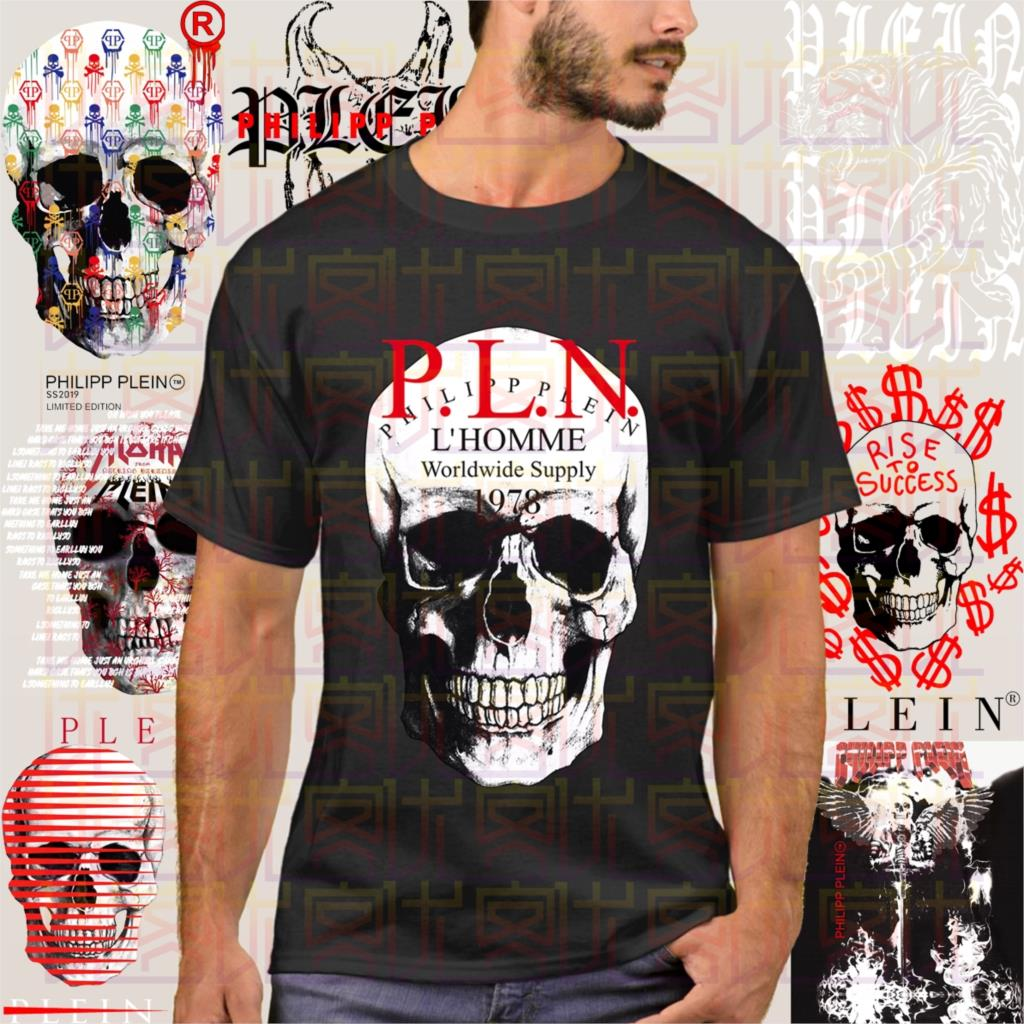 Retro Phillip T-shirt Plein Fashion Men Free Shipping Men's T-shirt Simple Short Sleeve Street Black New Casual Tees  Amazing