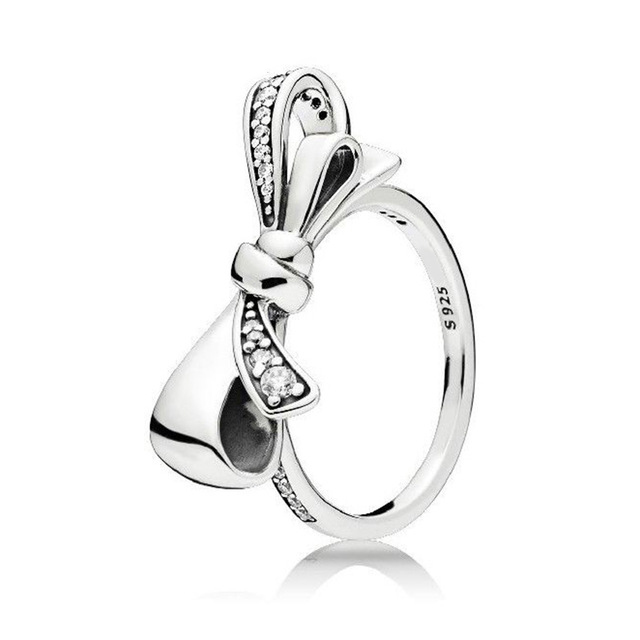 Keris Store  100% Sterling Silver 1:1 Glamour Brilliant Bow Ring Original Women Wedding Fashion Jewelry 2018 197232CZ