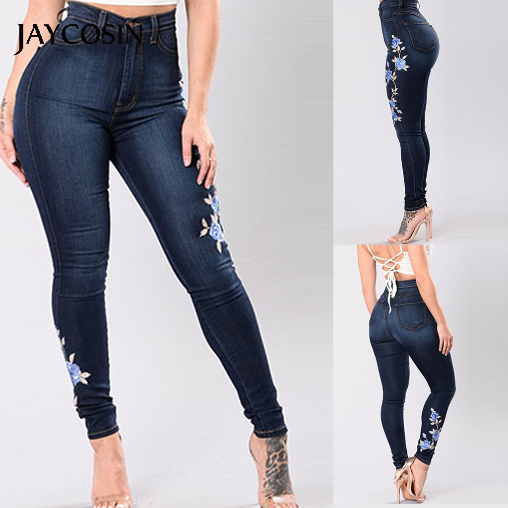 JAYCOSIN Women's Pants Elasticity High Waist Skinny Women's Trousers Embroidered Pocket Jeans Zip Fly Slim Fit Denim New Arrival