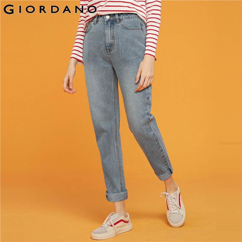 Giordano Women Jeans Slim Fit Mid Rise Denim Jeans Mujer Slant Pockets Button Closure Zip Fly Solid Vaqueros Mujer 05419082