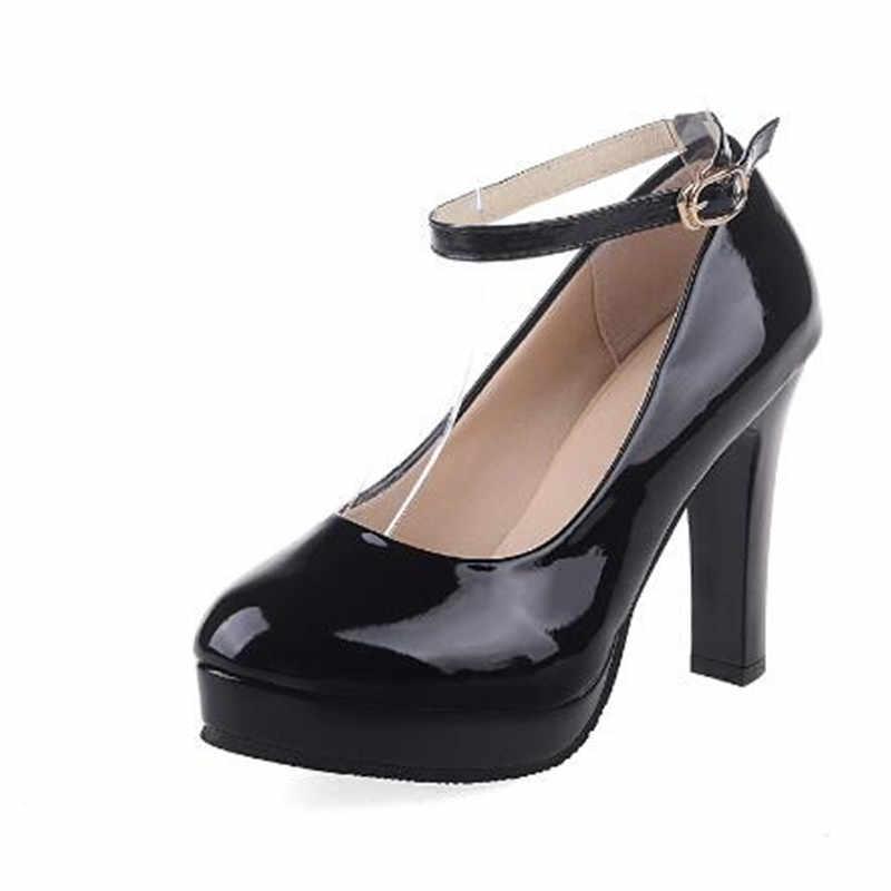 Primavera otoño tobillo Correa bombas blanco boda zapatos mujer vestido zapatos mujer tacones altos bomba barco zapatos mujer CY2149