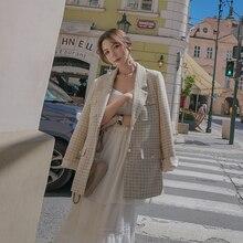 Vintage mujer Plaid Blazer pequeña fragancia traje Casual cinturón chaqueta mujer abrigo Oficina señora manga larga Blazer prendas de vestir