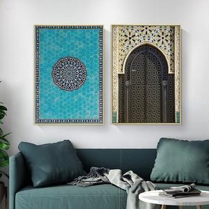 Image 4 - Affiche de porte avec Architecture islamique, toile imprimée de mosquée, Alhambra, peinture artistique murale, décoration de maison moderne