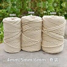 3mm 4mm 5mm 6mm macrame corda torcida cabo de algodão para artesanal corda bege natural diy casa acessórios do casamento presente