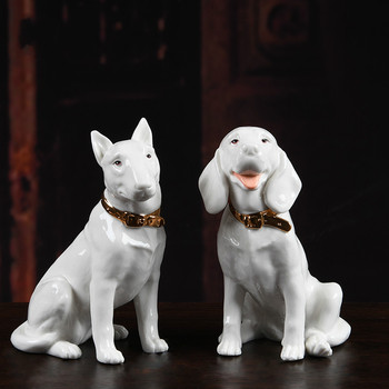 Ceramic Puppy Creative Cute Animal Ornaments Japanese Style Ceramic Crafts Home Decorations Holiday Gifts