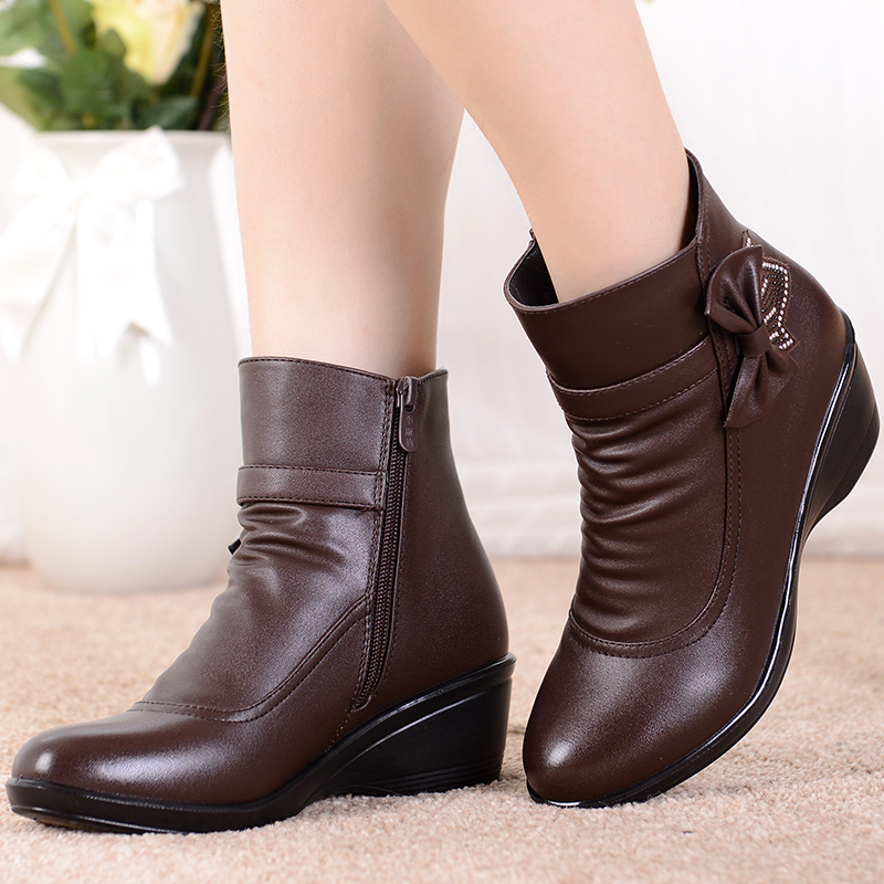 Women winter shoes bow-knot snow boots women waterproof  plush ankle boots wedges split leather zip botines mujer 2019