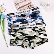 ECTUSAMAT Women Boyshort Camouflage Print Neutral Panties Shorty Woman Low Waist Cotton Women's Underpants Female Boxershorts
