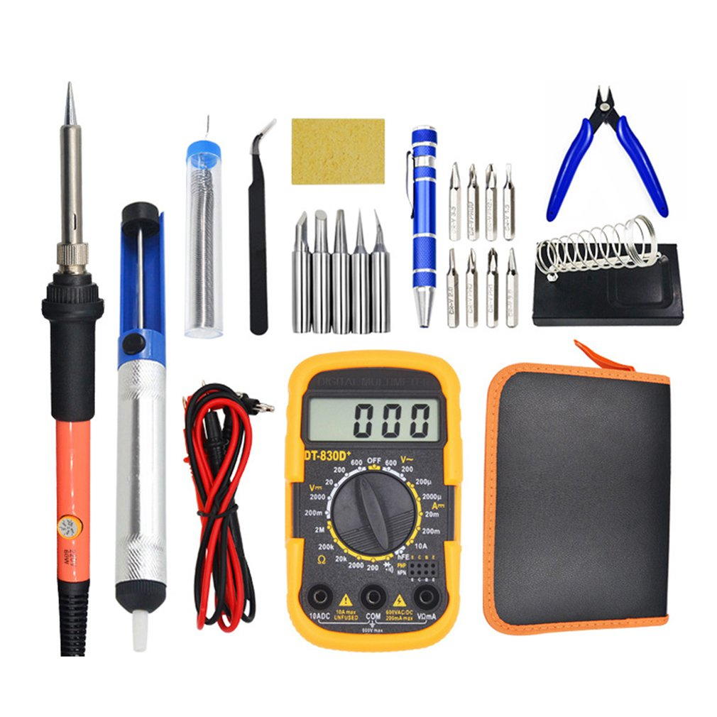 16PCS 110V/220V Electric Soldering Iron Kit 60W Soldering Iron Kit With Multimeter Desoldeirng Pump Welding Tool