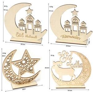 Image 4 - Houten Ramadan Eid Mubarak Decoraties Voor Huis Decoratie Houten Plaque Opknoping Hanger Islam Moslim Evenement Feestartikelen