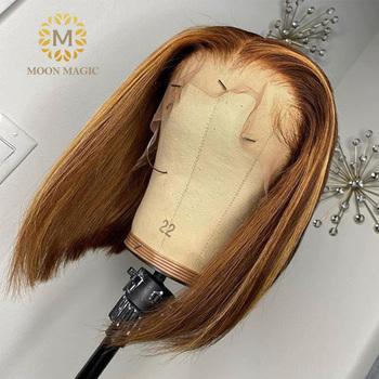HD przezroczysta koronkowa peruka Ombre ludzki włos peruki fryzura pixie wyróżnij koronkowa peruka na przód miód blond koronkowa peruka na przód krótki bob włosy tanie i dobre opinie moonmagic Długi Proste Koronki przodu peruk Virgin hair Pół maszyny wykonane i pół ręcznie wiązanej Wszystkie kolory