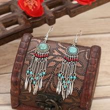 Boho Jewelry Long Chain Tassel Dangle Earrings Brincos Stone Beads Female Earrings Silver Color Jhumkas indian Unique Jewellery