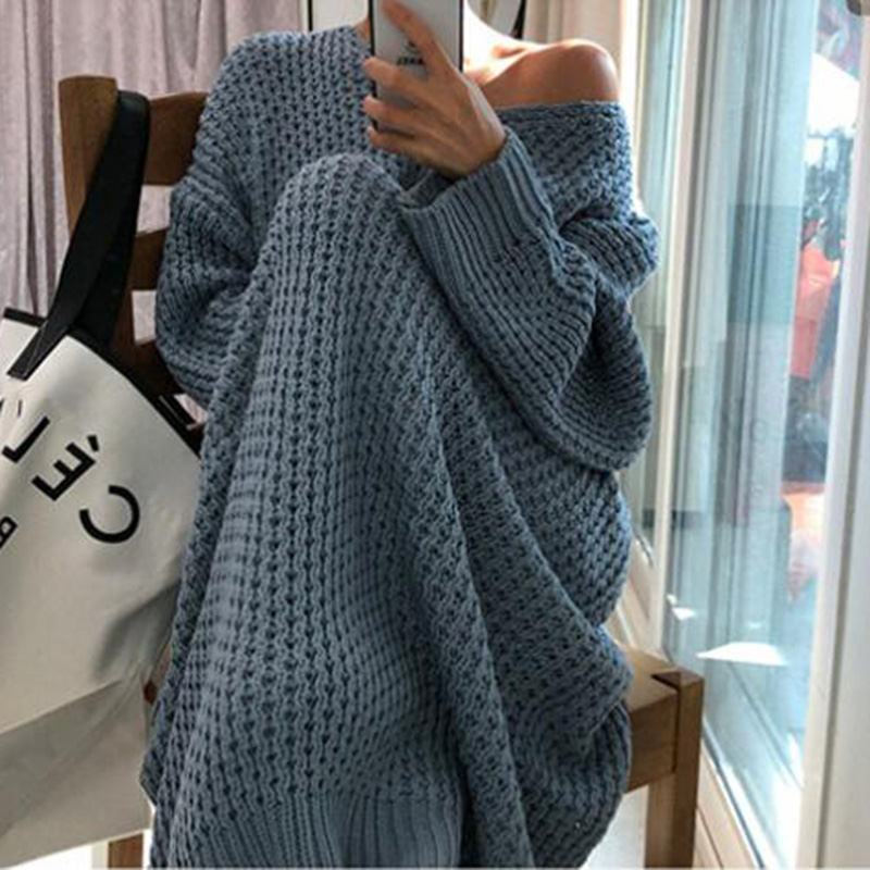 Fashion Oversize Autumn Winter Long Sweater Dress Women Batwing Sleeve Female V-neck Loose Knitted Pullovers Dress Chic