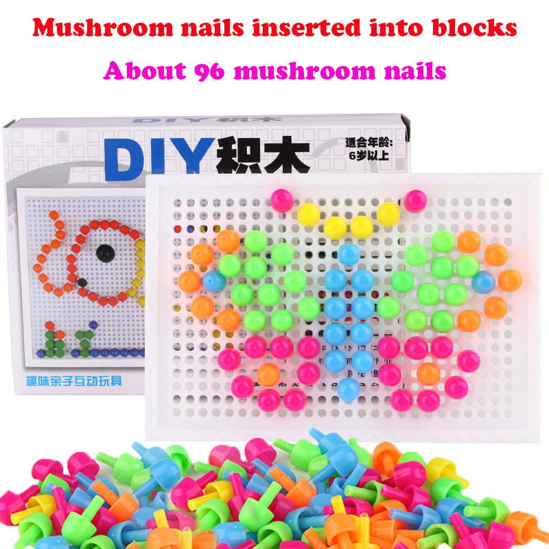 Huilong 96PCS Mushroom Nail  Puzzle Toys  Puzzle Blocks Toy For  Children DIY Beads For 3D Cartoon Blocks/ DIY Mushroom Nail