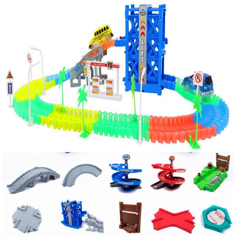 DIY Racing Track Set 160/240/360 Race Track With Car Assembly Flexible Glowing Tracks Vehicle Toys For Kids Gifts