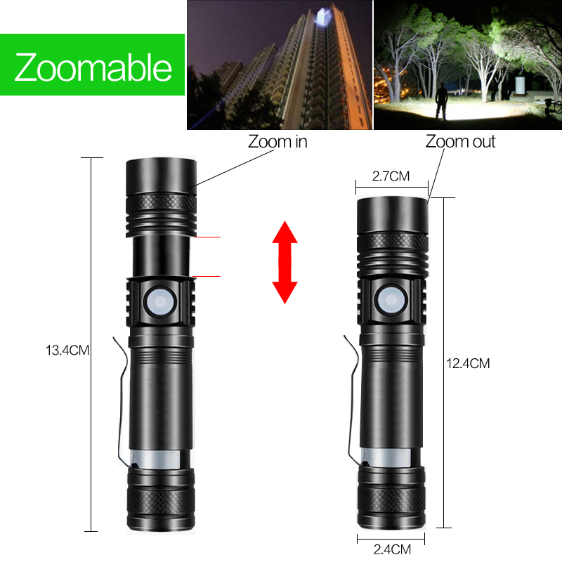8000LM super bright LED flashlight flashlight led T6 / L2 / V6 DE Zoomable outdoor bicycle light USB rechargeable Pakistan