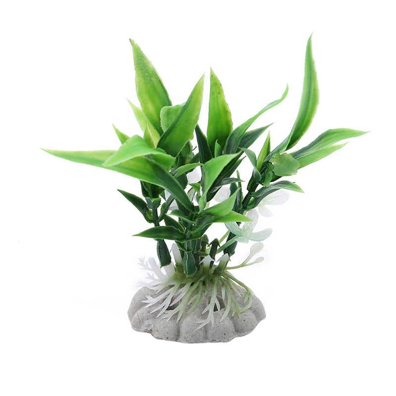 Venda quente nova planta de plástico grama aquário decorativo vermelho simulação folhas de bambu tanque de peixes paisagem decoração