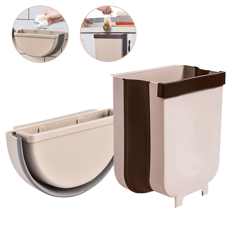 Saving Space Kitchen Hanging Trash Bin Foldable Cabinet Trash Can Garbage Bin <font><b>Car</b></font> Storage <font><b>Box</b></font> Waste Can For Bathroom Toilet image