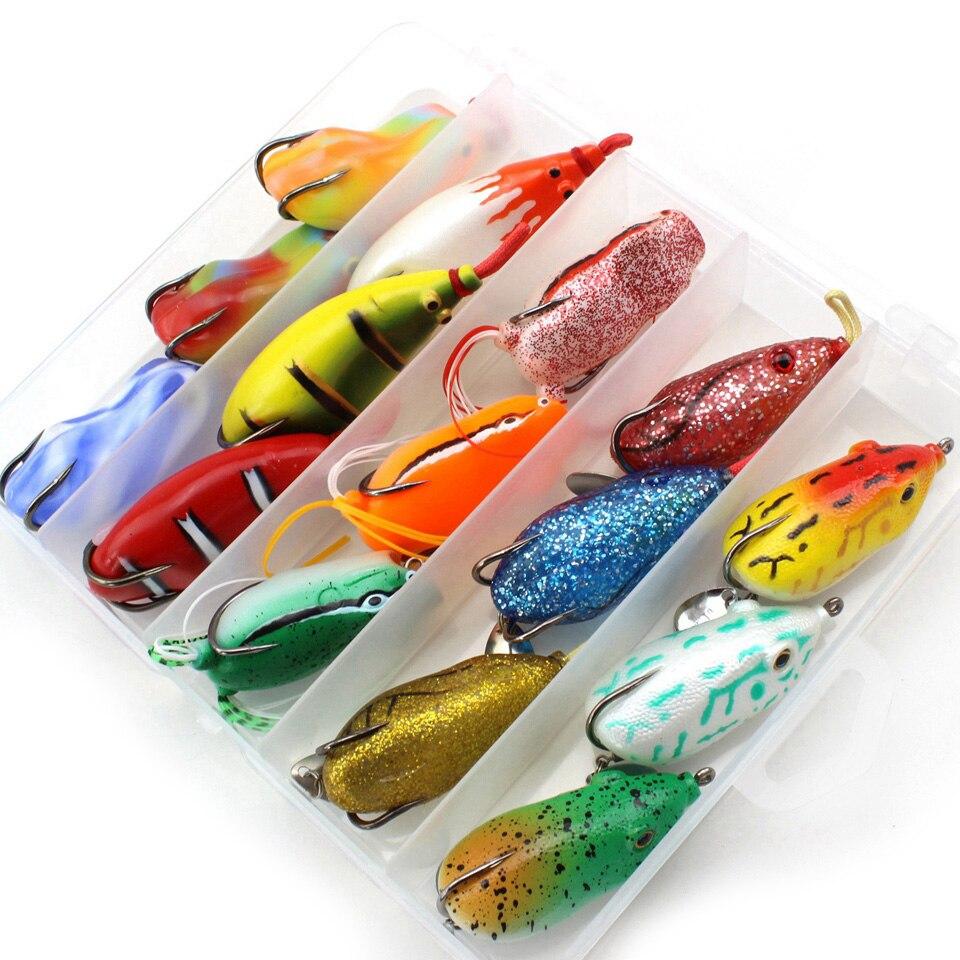 alta qualidade 15 pcs 15 cores topwater sapo e mouse corpo oco suave iscas de pesca